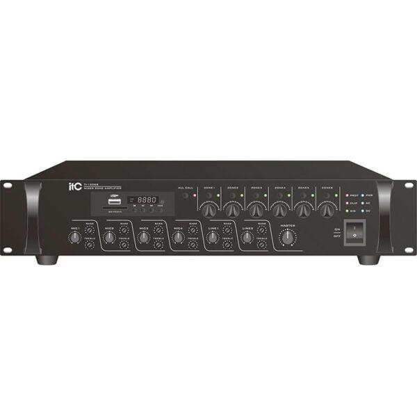 Mixer audio cu amplificator ITC Audio TI-5006S cu 6 zone și USB